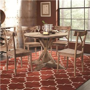 Rustic Casual Round Dining Table and Side Chair Set