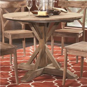 Rustic Casual Round Pedestal Table