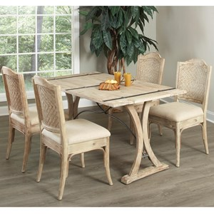 5 Piece Dining Set with Folding Top Table and Woven-Back Chairs