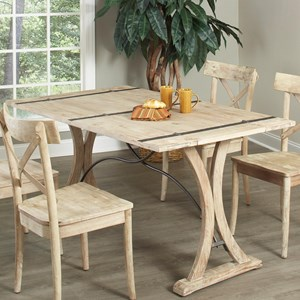 Open Grain Folding Top Dining Table with Trestle Base