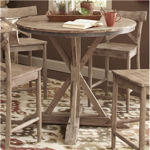 Rustic Casual Round Counter Height Pedestal Table