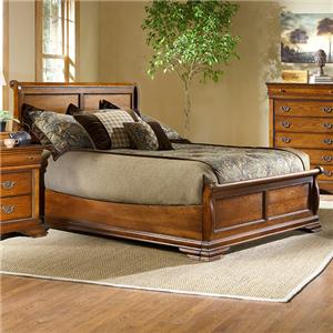 Queen-Size Low-Profile Sleigh Bed with Panel Detail