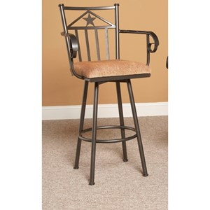 Casual Swivel Bar Stool with Star Design