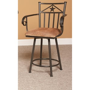 Casual Swivel Counter Stool with Star Design