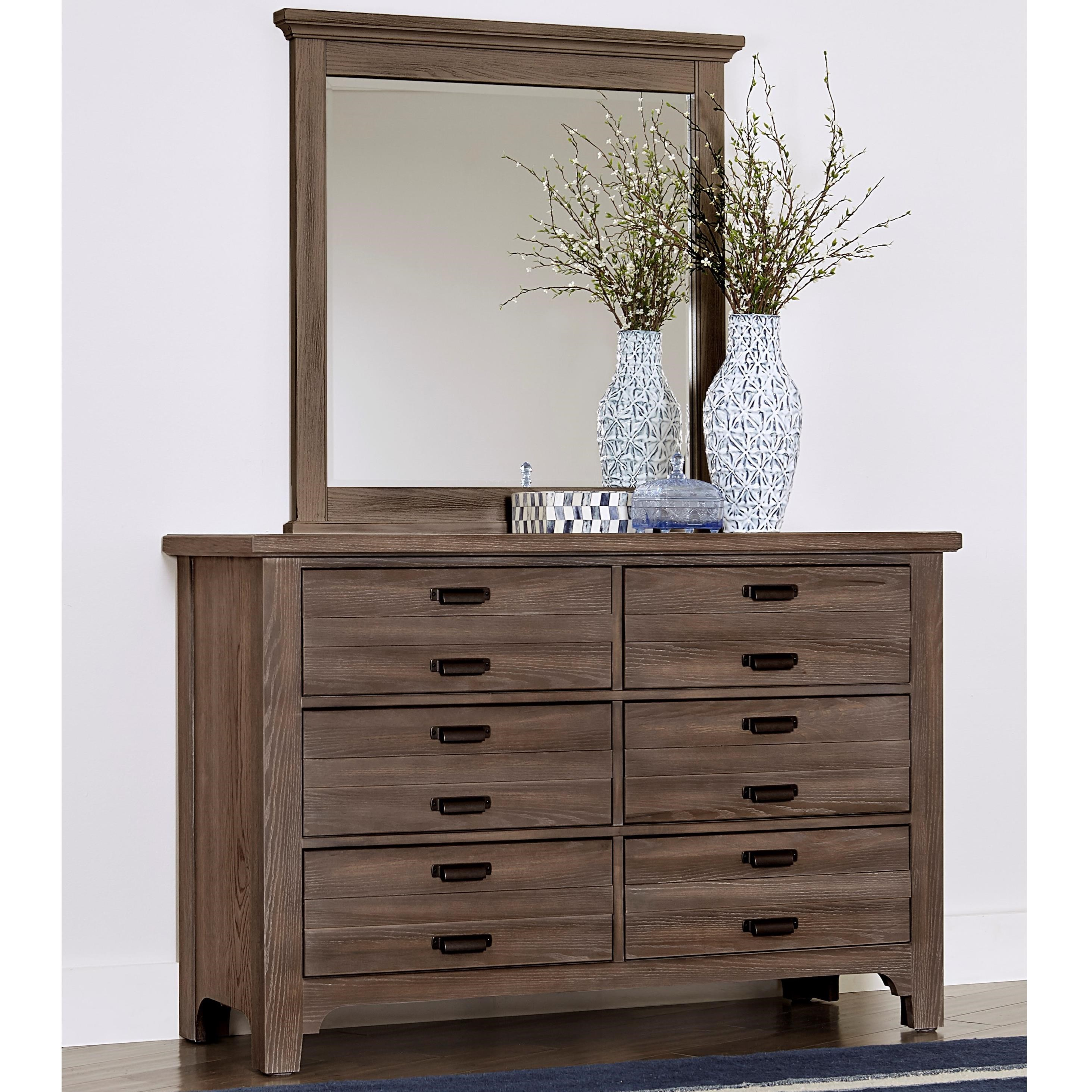 Bungalow Double Dresser & Small Landscape Mirror by Vaughan-Bassett at Crowley Furniture & Mattress