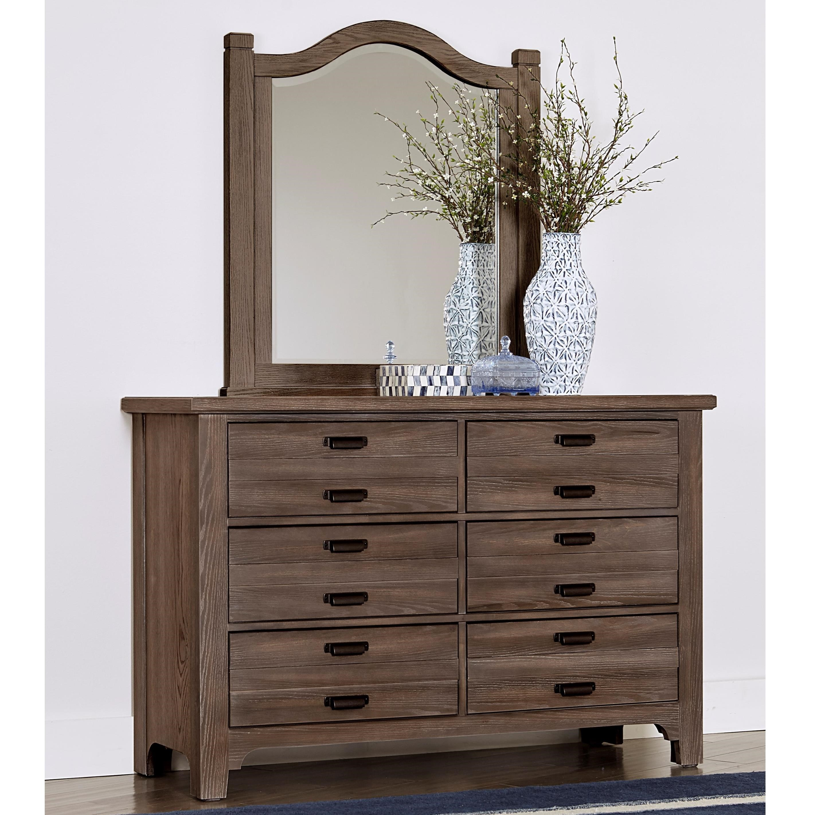 Bungalow Double Dresser & Small Arch Mirror by Vaughan-Bassett at Crowley Furniture & Mattress