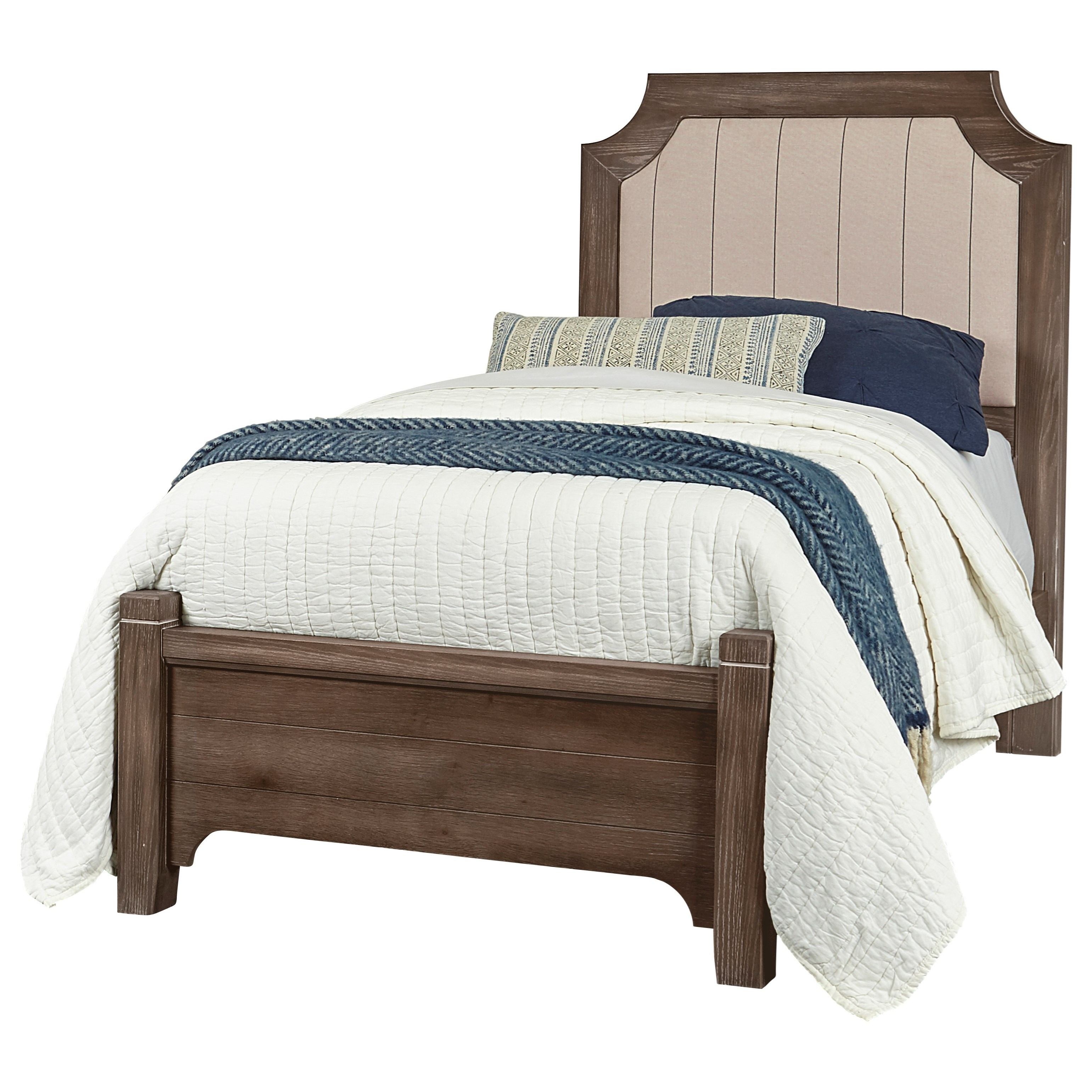 Bungalow Full Upholstered Bed Low Profile Footboard by Vaughan-Bassett at Crowley Furniture & Mattress