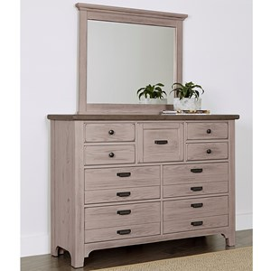 Transitional 9 Drawer Master Dresser and Master Landscape Mirror