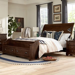 Relaxed Vintage King Sleigh Bed with Footboard Storage Bench