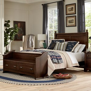 Relaxed Vintage Queen Poster Bed with Footboard Storage Bench