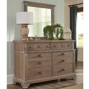 Relaxed Vintage 6 Drawer Dresser and Mirror
