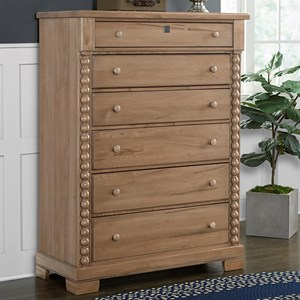 Rustic Solid Wood 6-Drawer Chest