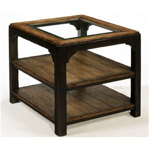 Rectangular Glass Top End Table with Two Planked Shelves and Twp-Toned Finish