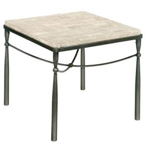 Rectangular End Table With Tiled Top