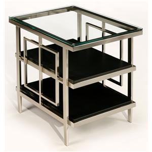 Rectangular Nickel Accent Table with Geometric Shapes, Glass Top, and 2 Black Shelves