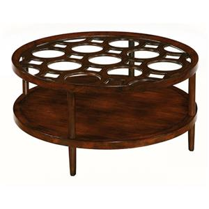 Round Cocktail Table with Wood and Glass Top