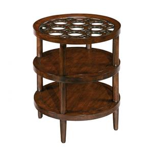 Round End Table with Wood and Glass Top