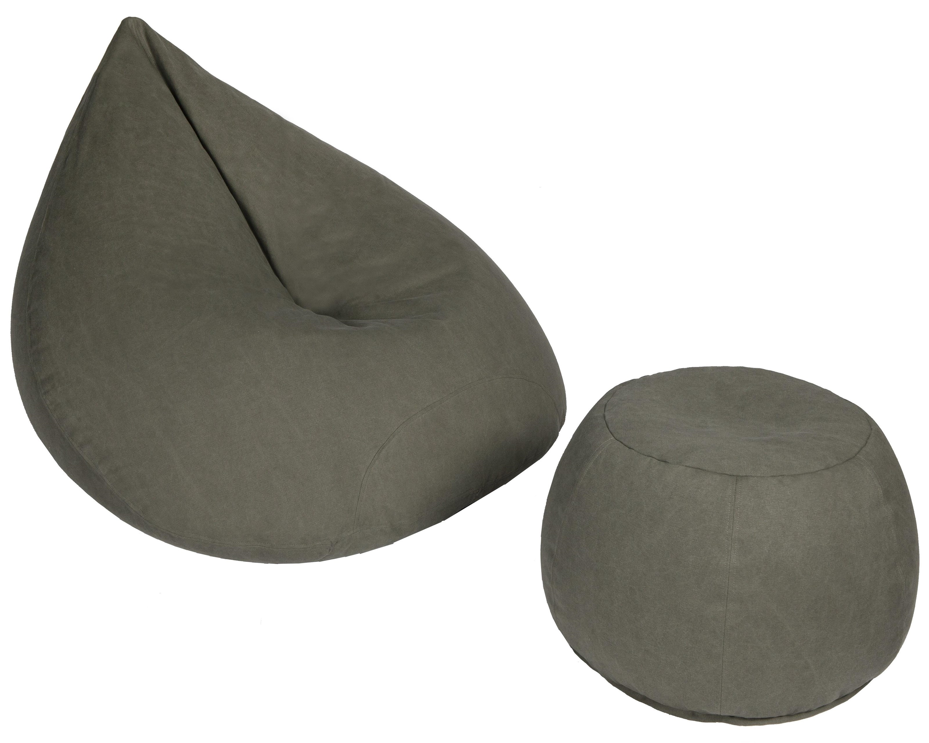 Beanbag Grey Beanbag Large Tear & Ottoman Pack by Lazy Life Paris at HomeWorld Furniture