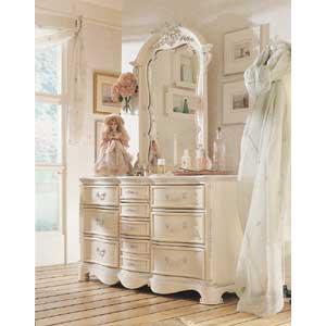 Lea Industries Jessica McClintock Romance Dresser & Vertical Mirror