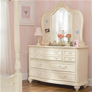 Lea Industries Jessica McClintock Romance Dresser & Ribbon-Board Mirror