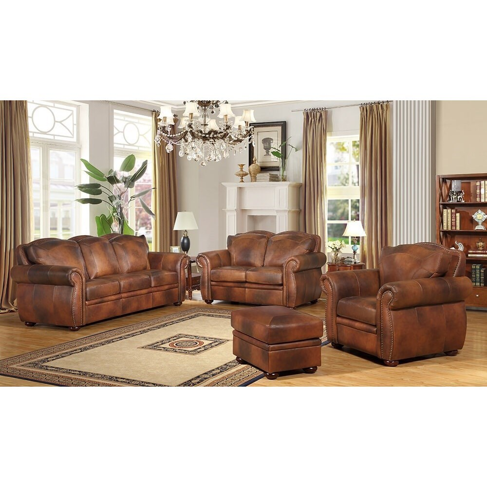 Arizona Stationary Living Room Group by Leather Italia USA at Fashion Furniture