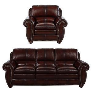2PC Leather Sofa & Chair Set