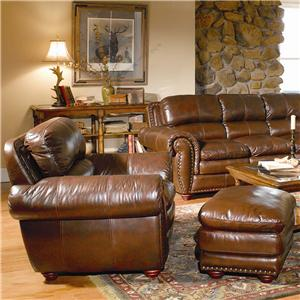 Leather Italia USA Aspen Leather Chair & Ottoman