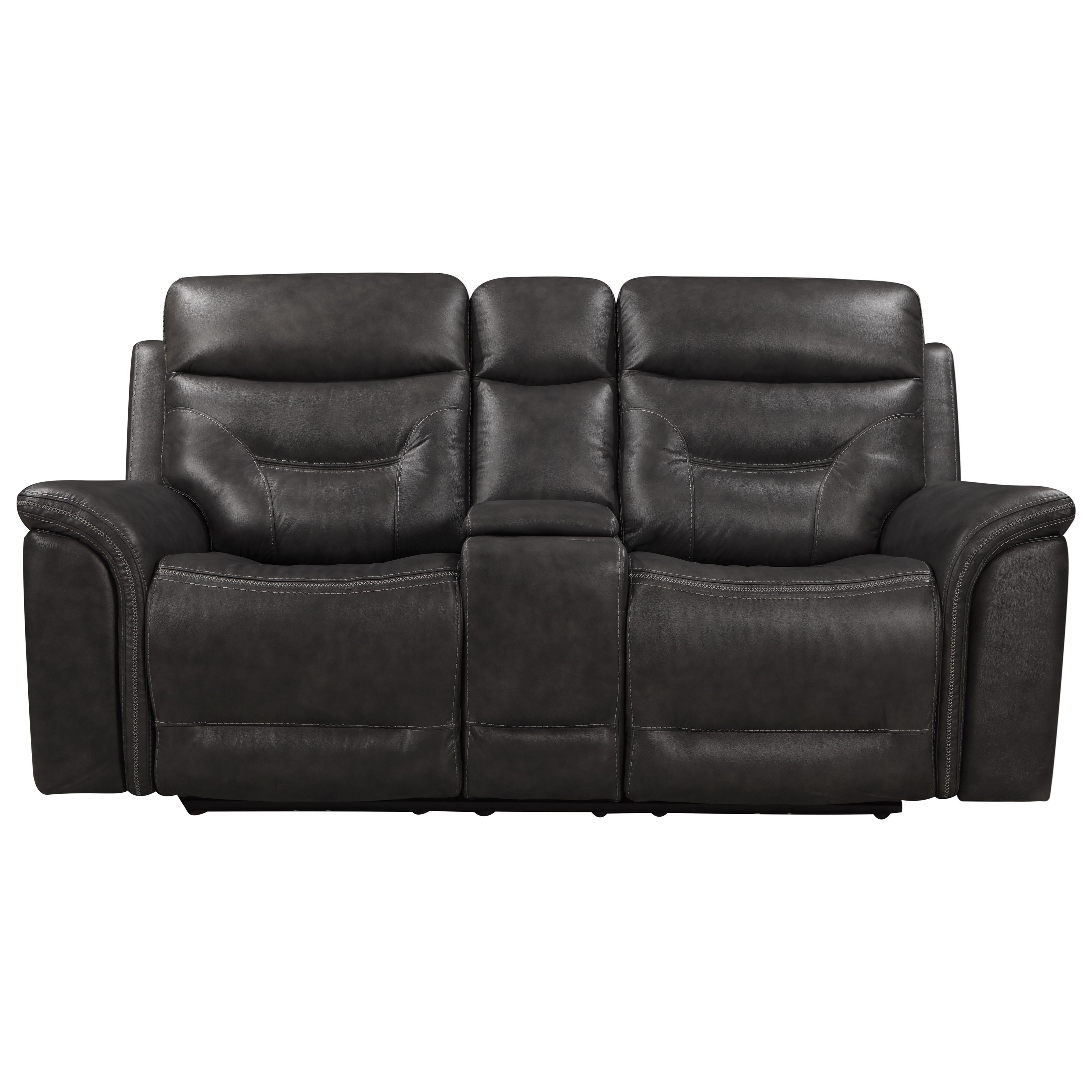 Bullard Power Reclining Console Loveseat by Leather Italia USA at Darvin Furniture