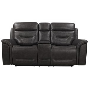 Leather Power Reclining Console Loveseat