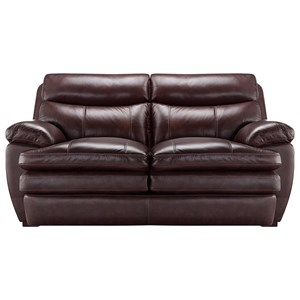 Casual Styled Leather Loveseat