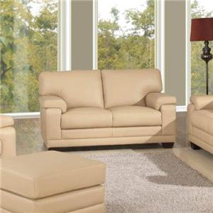 Casual-Contemporary Loveseat with Saddle Bag Arm