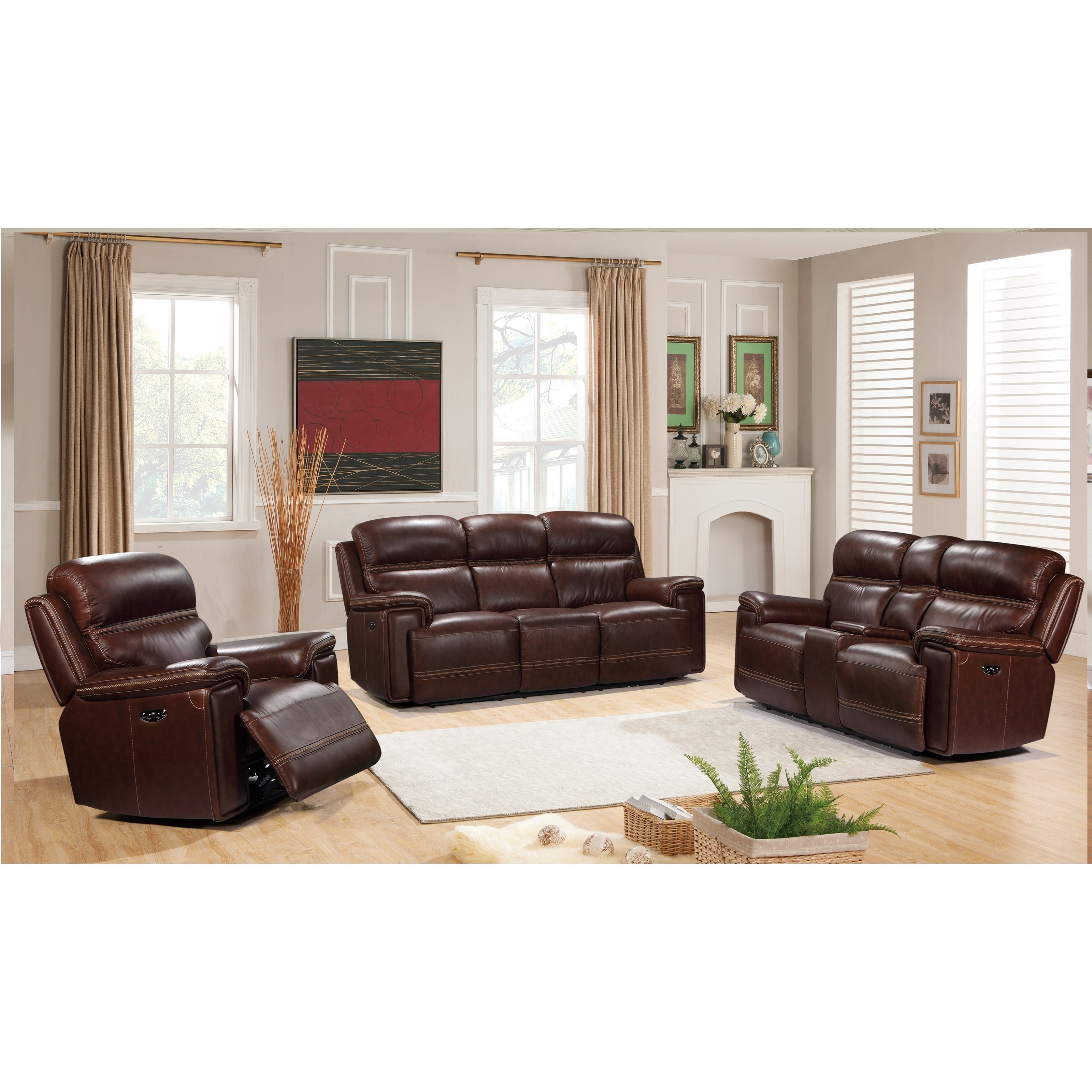 Fresno Power Reclining Living Room Group  by Benini Leather at Bennett's Furniture and Mattresses