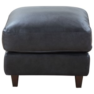Contemporary Leather Ottoman with Exposed Wood Legs