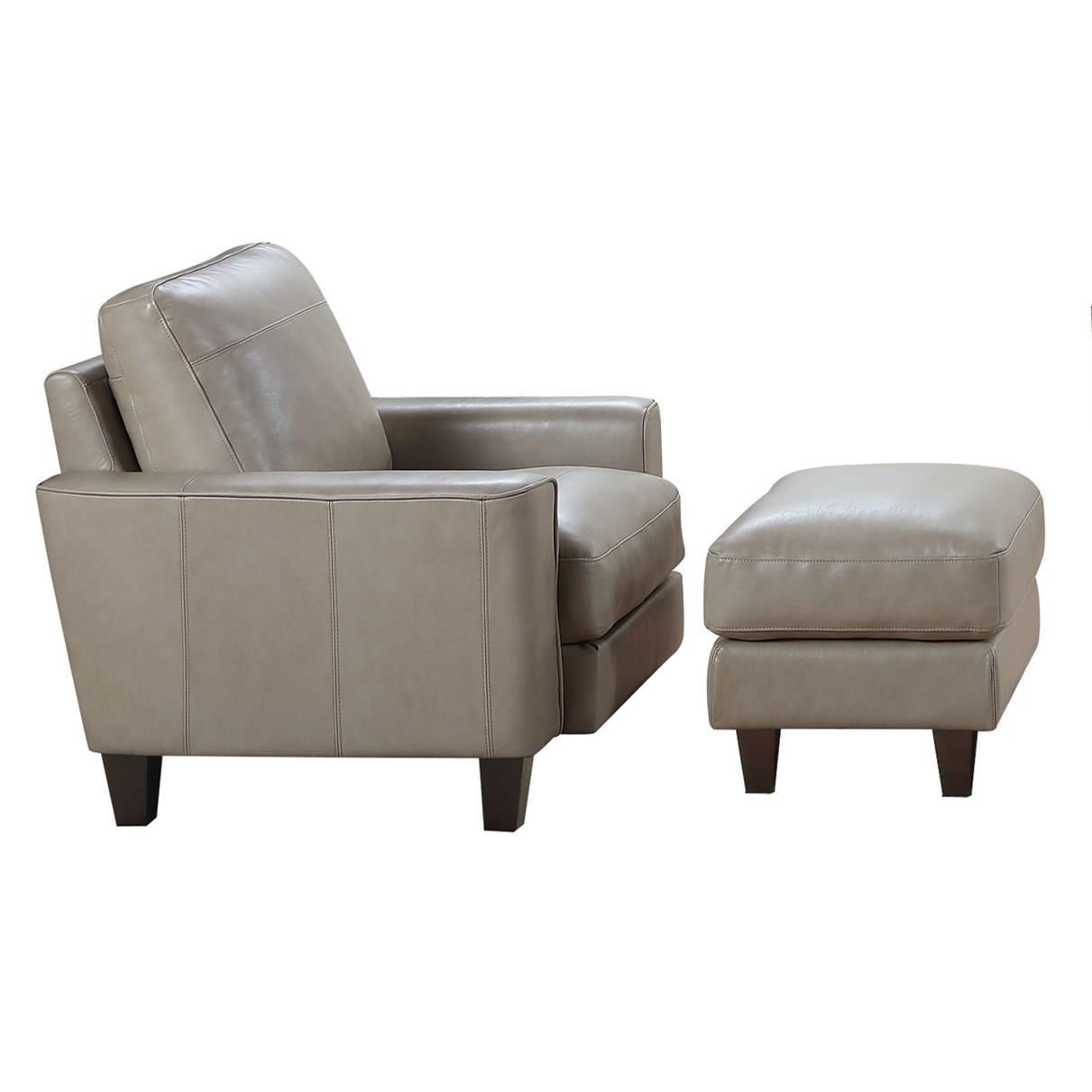 Chino Leather Chair and Ottoman Set at Rotmans