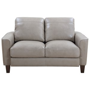 Contemporary Leather Loveseat with Exposed Wood Legs