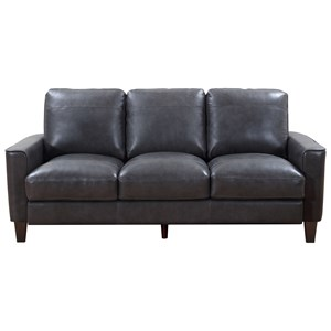Contemporary Leather Sofa with Exposed Wood Legs