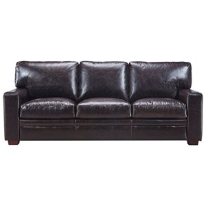 Transitional Leather Sofa with Track Arms