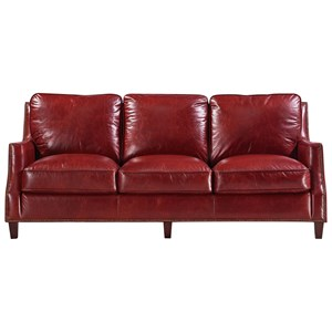 Transitional Leather Sofa with Nailhead Trim