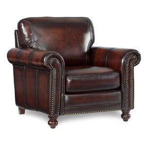 Leather Push Back Recliner w/ Roll Arms & Nailhead Trim