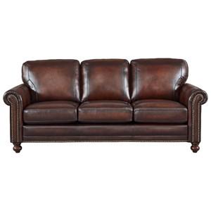 Leather Sofa  w/ Roll Arms & Nailhead Trim