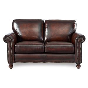 Leather Loveseat w/ Roll Arms & Nailhead Trim