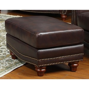 Traditional Leather Ottoman with Bun Wood Feet and Nailhead Trim