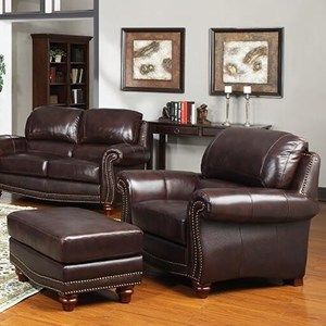 Traditional Leather Chair and Ottoman with Nailhead Trim