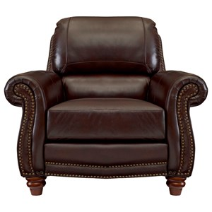 Traditional Leather Chair with Rolled Arms and Nailhead Trim