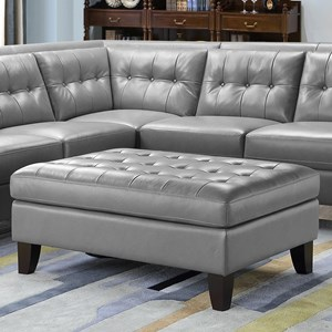 Rectangular Leather Ottoman with Tufted Seat
