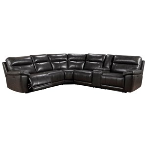 Leather 4-Seat Power Reclining Sectional Sofa with 3 Reclining Seats and Power Headrests