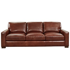Contemporary Leather Sofa with Extra Deep Seats