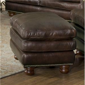Leather Italia USA Roswell Ottoman 1226 Burgundy