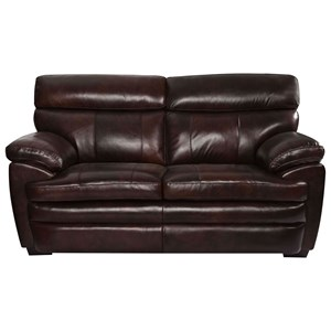 Casual Leather Loveseat with Pillow Arms