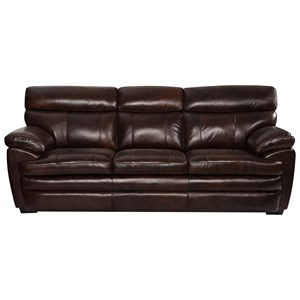 Casual Leather Sofa with Pillow Arms